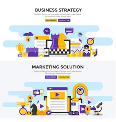flat design concept banners - business strategy vector image