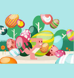 flat easter bright bunny runs with striped egg vector image