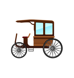 Flat icon of old carriage with wooden cab vector