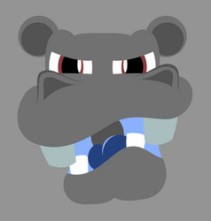 Flat icon on theme evil animal hippo vector
