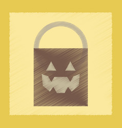 Flat shading style icon halloween bag vector