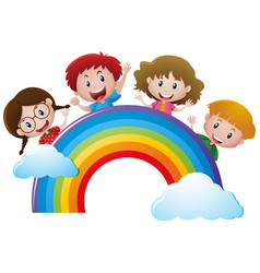 Four kids over the rainbow vector