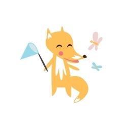 Fox Catching The Butterflies vector