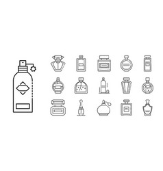 fragrance bottles icons set outline style vector image