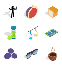 Free time icons set isometric style vector
