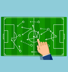 Game strategy on soccer field football scheme vector