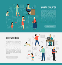 Gender evolution banners set vector