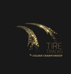 golden tire tracks on dark background vector image