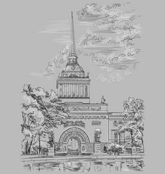 Grey hand drawing st petersburg 2 vector