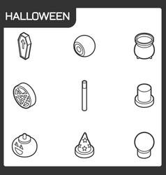 halloween outline isometric icons vector image