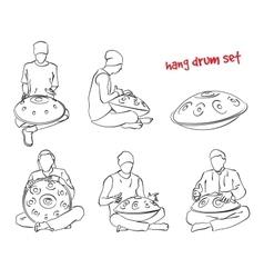 Hang drum musician set vector image