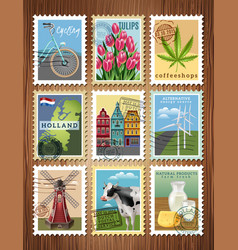 holland travel stamps set poster vector image