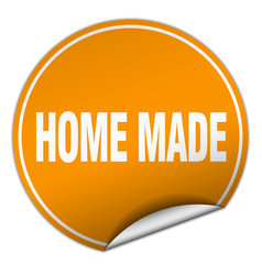 Home made round orange sticker isolated on white vector
