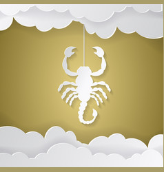 Horoscope paper cut style concept for scorpio vector