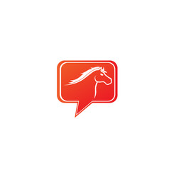 horse head symbol in chat icon for logo design vector image