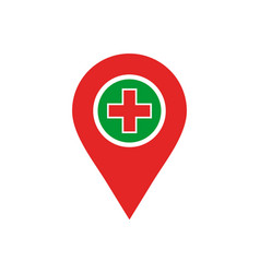 Hospital medical location logo icon vector