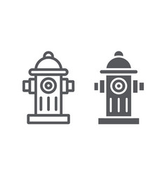 Hydrant system line and glyph icon equipment and vector