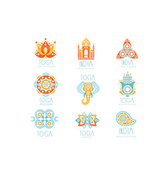Indian yoga studio set of colorful promo sign vector