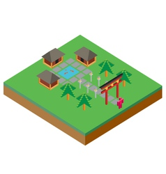 Isometric Asian House vector image