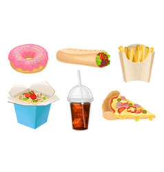 Junk food set fast food vector