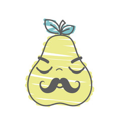 Kawaii nice sleeping pear icon vector