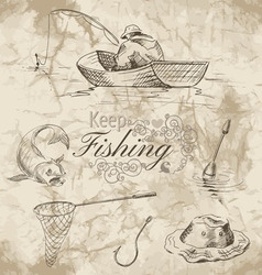 keep fishing sketch vector image