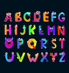 Kids alphabet with funny monster letters vector
