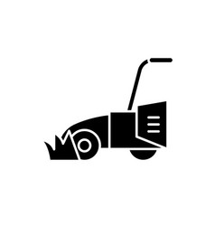 lawn mower black icon sign on isolated vector image