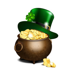 leprechaun hat and pot of gold vector image