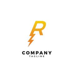 letter r thunder bolt design logo vector image