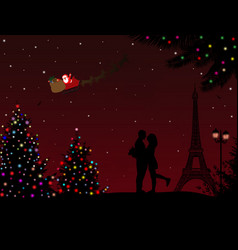 Lovers in paris with santas sleigh vector