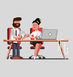 man and girl having a break on work vector image