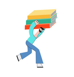 man carrying stack of big vector image