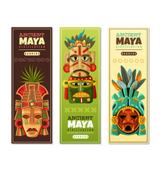 Maya civilization vertical banners vector