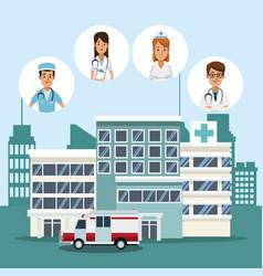 Medical team at hospital vector