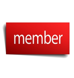 Member red paper sign on white background vector