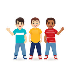 Multiethnic boy friends vector