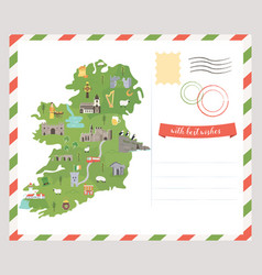 postcard irish map symbols of ireland vector image