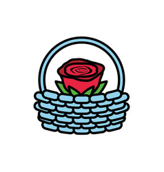 rose flower in basket isolated icon vector image