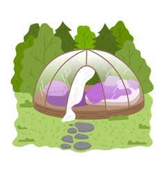Round glass glamping house with bedroom inside vector