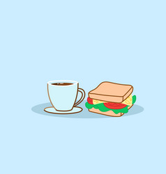 sandwich with coffee cup tasty fast food lunch vector image