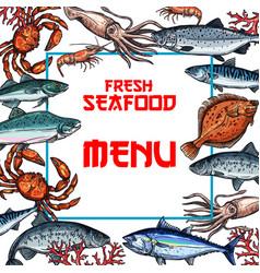 Seafood menu card or poster template vector