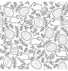 Seamless pattern with Easter eggs bunnies vector image