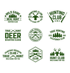 set isolated hunting emblems with deer and guns vector image