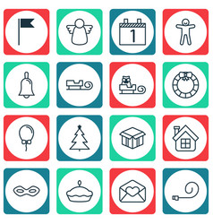 Set of 16 holiday icons includes celebrate vector