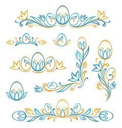 Set of decorative easter elements vector image