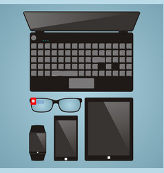 Set of multimedia devices laptop smart glasses vector