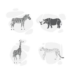 set of silhouettes of animals safari vector image