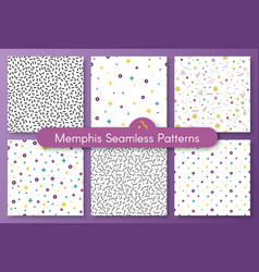 set of six abstract shape white memphis pattern vector image