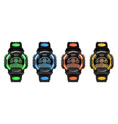set smart watch fitness bracelet with pedometer vector image